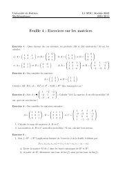 Exercices sur les matrices - Mathématiques - Université de Poitiers