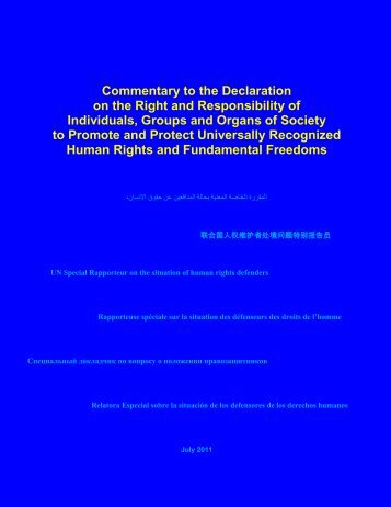 Commentary to the Declaration on the Right and Responsibility of ...