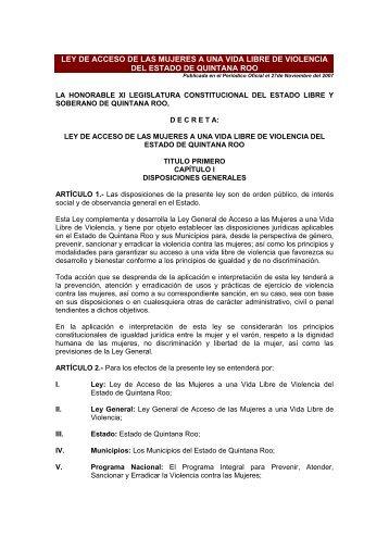 LEY DE ACCESO DE LAS MUJERES A UNA VIDA ... - CONAVIM