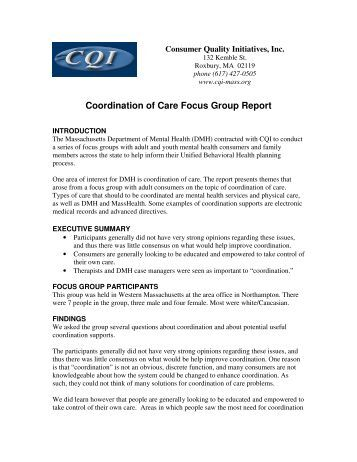 Coordination of Care Focus Group Report - Consumer Quality ...