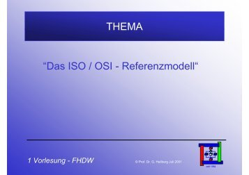 "THEMA ""Das ISO / OSI - Referenzmodell"""
