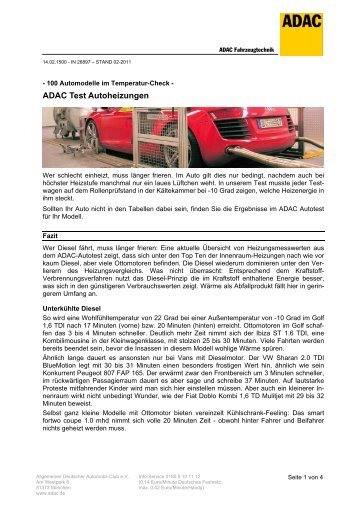 ADAC Test Autoheizungen