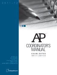 AP Coordinator's Manual - For Professionals - College Board