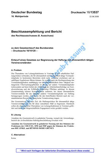 BT-Drucks. 16/13537 - Bucerius Law School