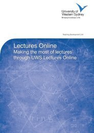 Lectures Online - University of Western Sydney