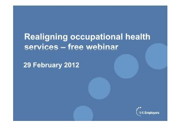 Realignment of Occupational Health Services - NHS Employers