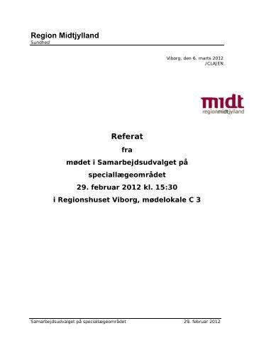 Referat fra mødet i Samarbejdsudvalget for speciallæger 29-02-2012