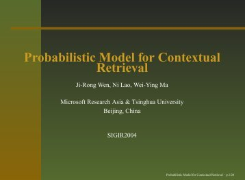 Probabilistic Model for Contextual Retrieval
