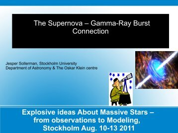 Stockholm Aug. 10 2011 - Explosive Ideas about Massive Stars ...