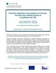 Femmes migrantes sans-papiers en Europe: Concilier les ... - PICUM