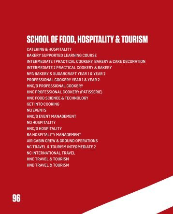 school of food, hospitality & tourism - City of Glasgow College