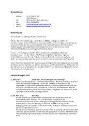 Kontaktdaten Beschreibung Veranstaltungen 2011