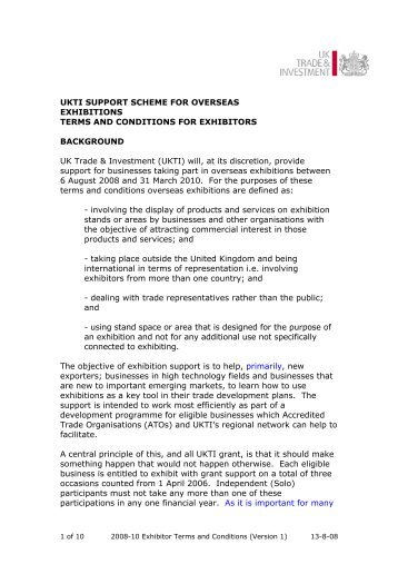 UKTI SUPPORT SCHEME FOR OVERSEAS EXHIBITIONS TERMS ...
