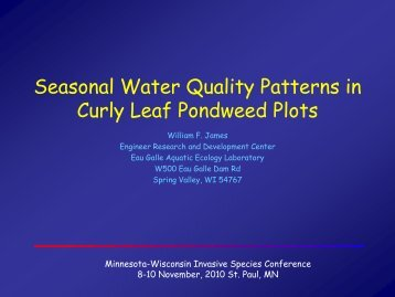 Seasonal Water Quality Patterns in Curlyleaf Pondweed Plots