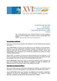 Sur le grill : Xavier BERTRAND, Secrétaire général de l'UMP - CSMF
