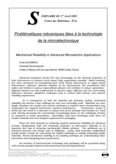 Problématiques mécaniques liées à la technologie de la ...