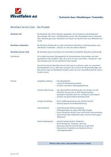 Westfalen Service Card – Das Produkt