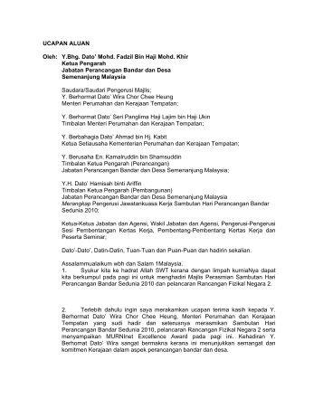 UCAPAN ALUAN Oleh: Y.Bhg. Dato' Mohd. Fadzil Bin Haji ... - JPBD