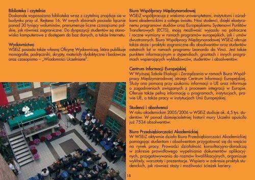 Informator ogolny A4 poziom MC.qxp - Wyższa Szkoła Ekologii i ...