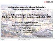 Aktivitäten der Kommission für Anlagensicherheit - Bergische ...