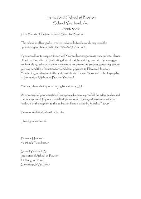 Yearbook Sponsor form ENG - International School of Boston