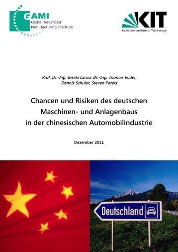 Chancen und Risiken des deutschen Maschinen- und ... - wbk - KIT