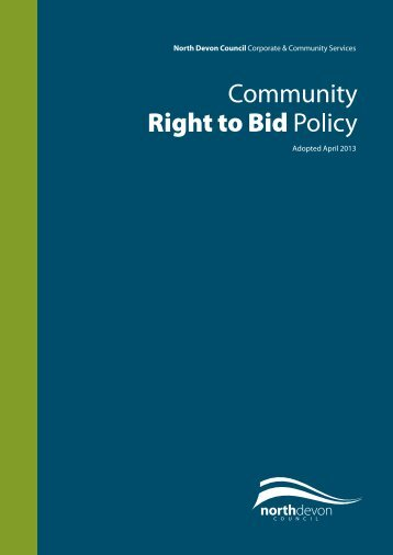 Community Right to Bid policy - North Devon District Council