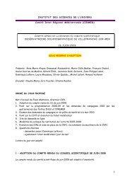 Compte-rendu de la réunion du comité scientifique ... - CNFC - CNRS