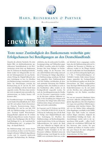 Newsletter 02/2006 - Hahn Rechtsanwälte Partnerschaft