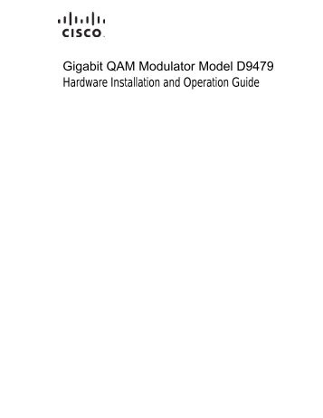 Gigabit QAM Modulator Model D9479 Hardware Installation and ...