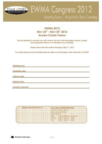 Stand Catering Order Form Pdf  Ewma Conference