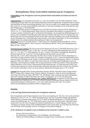 Strafrechtliche Sanktionierung der Zwangsheirat
