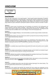 HINDUISM www.xtremepapers.net - FreeExamPapers