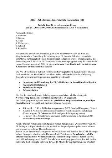 ARC – Arbeitsgruppe Innerklinische Reanimation (IR) Bericht über ...