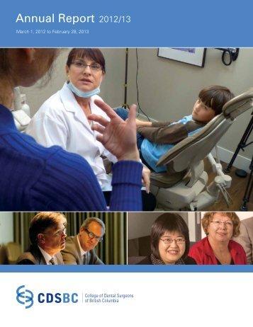 Annual Report 2012/13 - College of Dental Surgeons of British ...