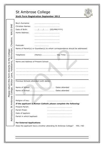 Sixth Form External Application Form - St Ambrose College