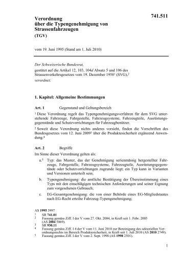 Verordnung über die Typengenehmigung von ... - admin.ch