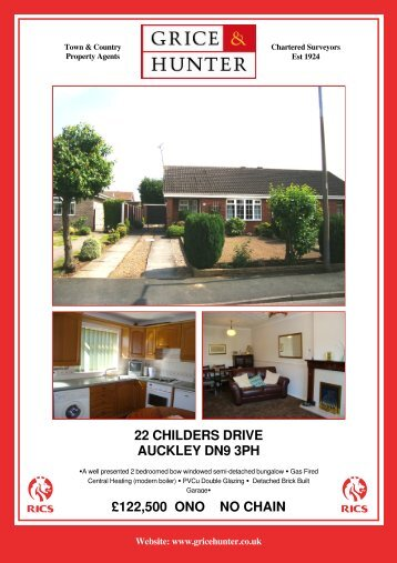 Reduced to £129,950 NO CHAIN 22 CHILDERS ... - Grice & Hunter