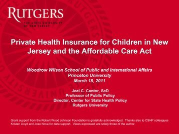 8720 - Center for State Health Policy, Rutgers University