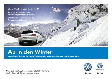 AUTO-WINTER 2012 Mailing - Volkswagen PW - Garage Gujer AG