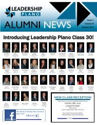 October 2012 Alumni Newsletter - Plano Chamber of Commerce
