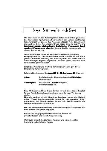 Kursprogramm 2012/13 - Frauenverein Igis