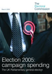 Election 2005: campaign spending - Electoral Commission