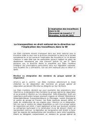 La transposition en droit national de la directive sur l'implication des ...
