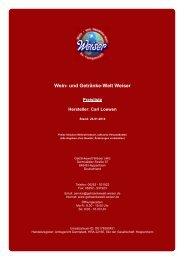 Preisliste für Hersteller: Carl Loewen - und Getränke-Welt Weiser