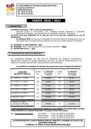 TARIFS 2010 / 2011 - Site web du groupe scolaire St Joseph - St Paul
