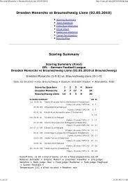 Dresden Monarchs vs Braunschweig Lions ... - NewYorker Lions
