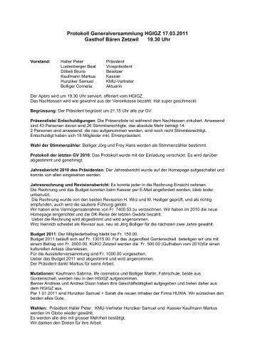 Protokoll GV 2011 als PDF - hgigz