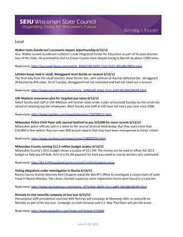Weekly Update June 8-14, 2012 - SEIU Wisconsin State Council