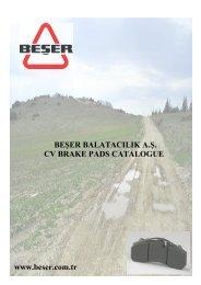 BEŞER BALATACILIK A.Ş. CV BRAKE PADS CATALOGUE www ...